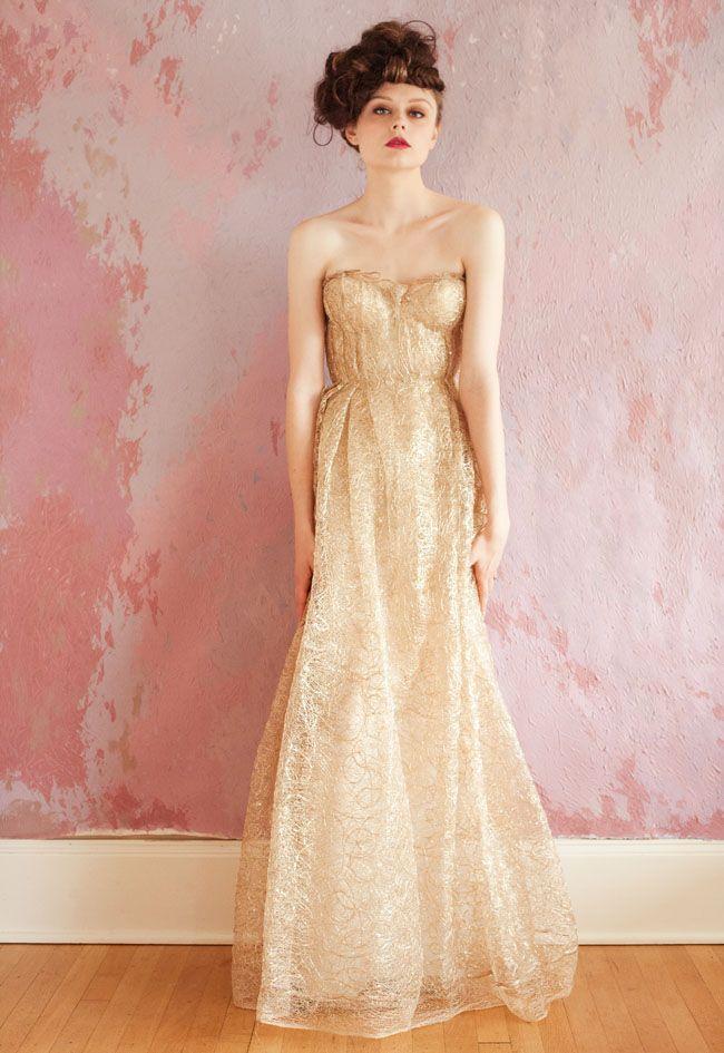 White Gold Wedding Dress 31 Popular gold wedding dress strapless