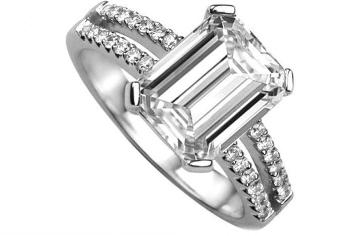 angelina jolie engagement ring emerald cut diamond engagement rings 3