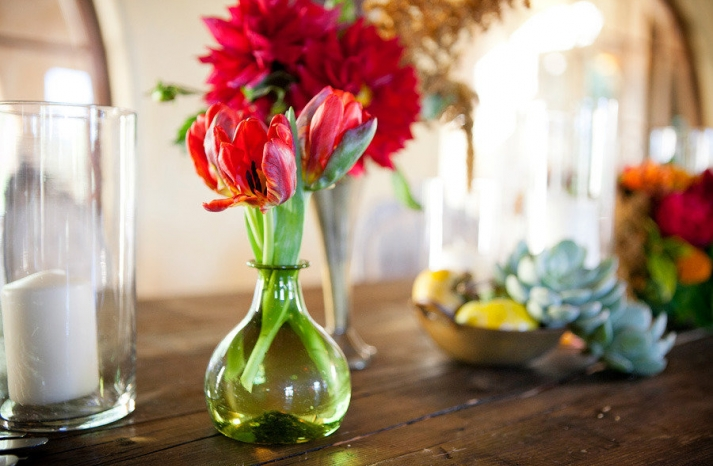 bright red posies wedding flower centerpieces