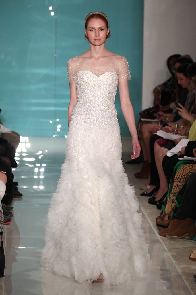2013 wedding dress trend sheer necklines illusion fabric Reem Acra 1