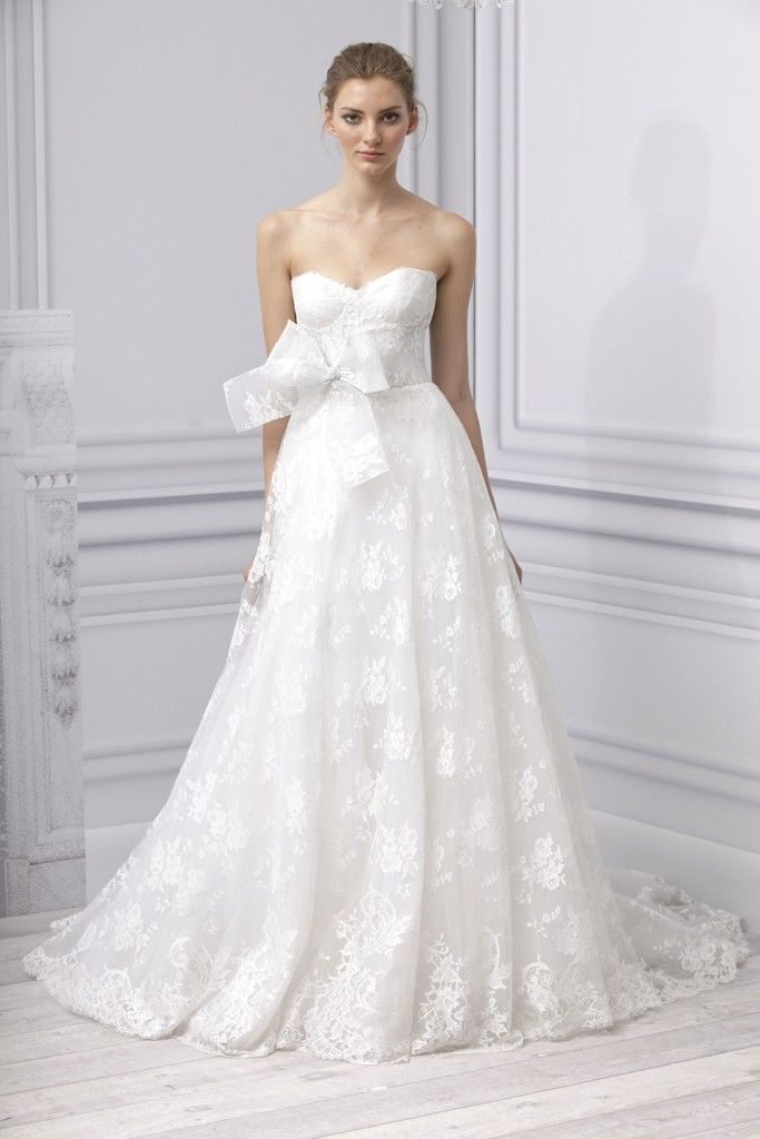 Spring 2013 wedding dress Monique Lhuillier bridal gown a line lace applique