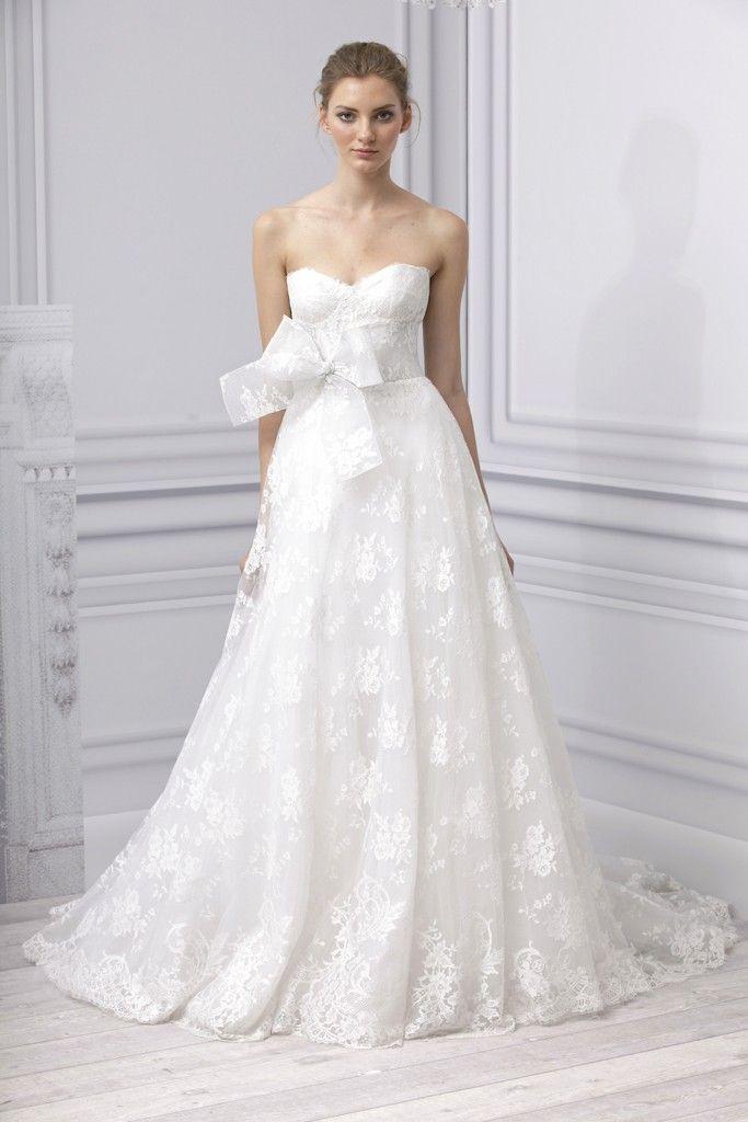 Spring 2013 wedding dress Monique Lhuillier bridal gown a line lace applique