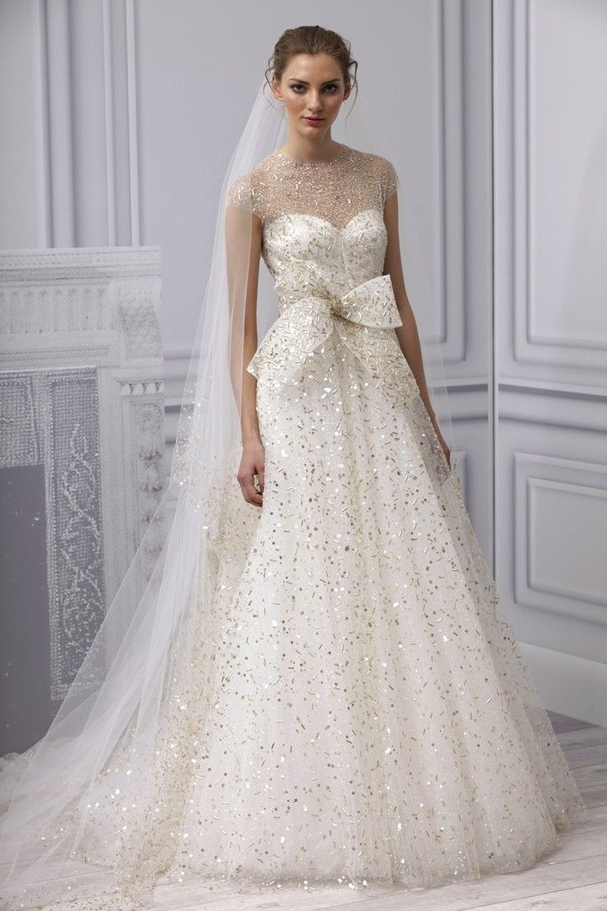 Spring 2013 wedding dress Monique Lhuillier bridal gown illusion neckline gold beading