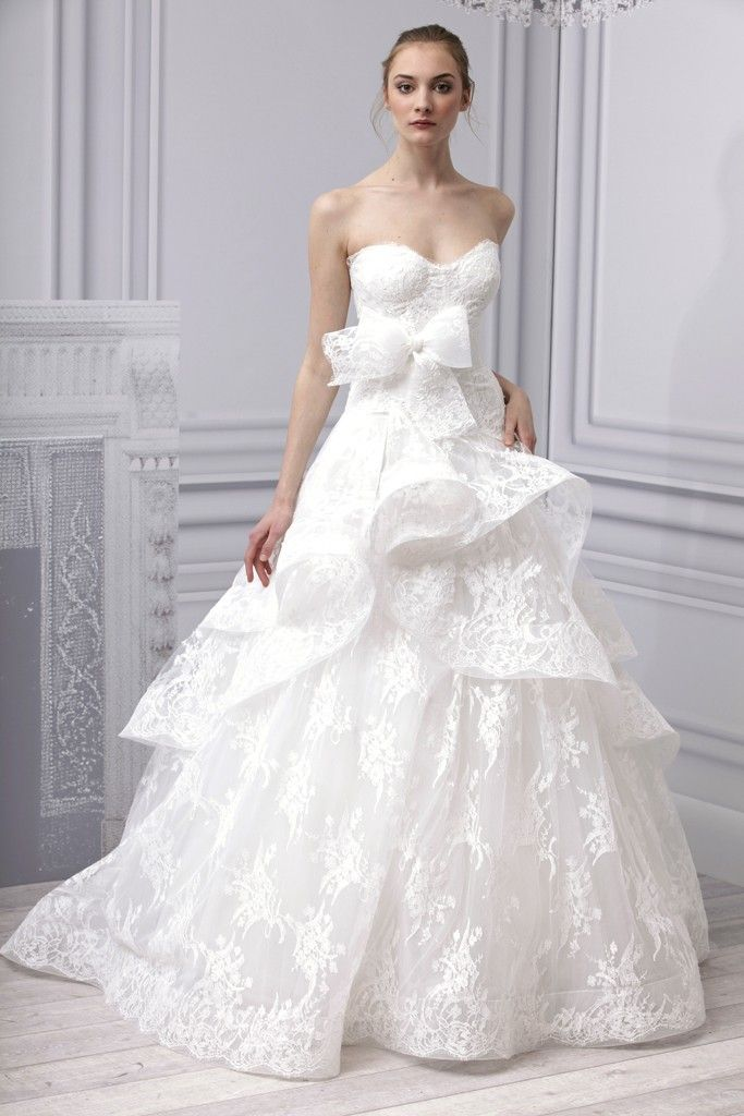 Spring 2013 wedding dress Monique Lhuillier bridal gown lace ballgown peplum