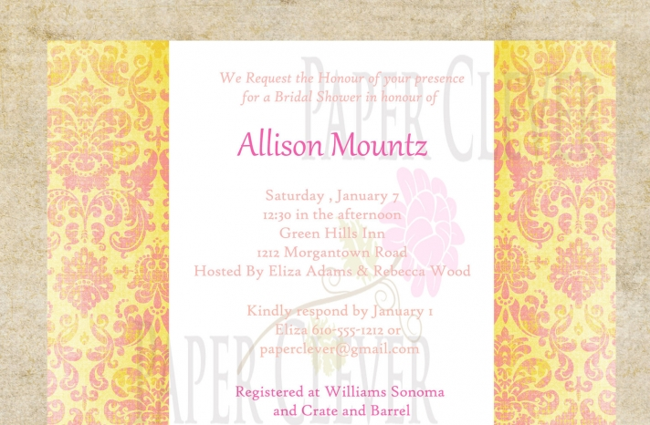 bridal shower wedding invitation yellow pink damask