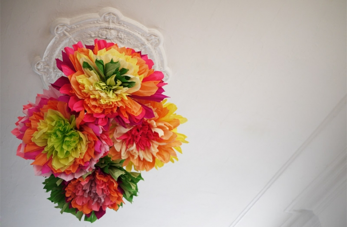 colorful wedding DIY project reception decor crepe paper flowers 14