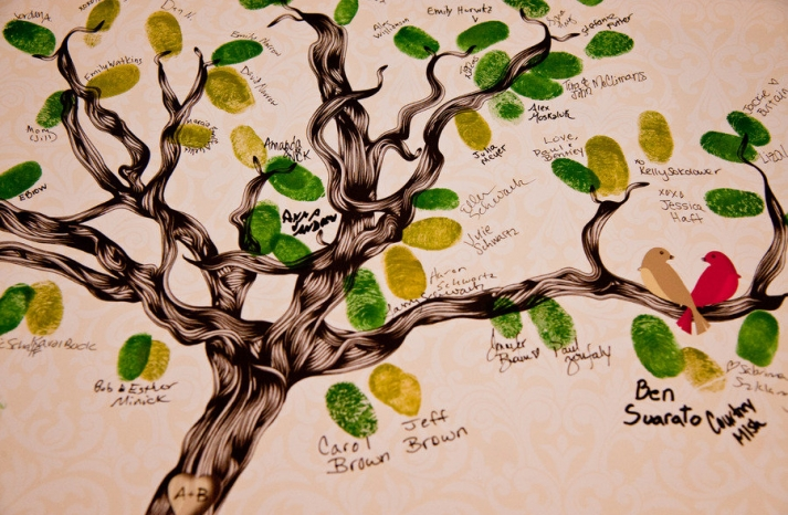 unique wedding guest book thumbprint tree art