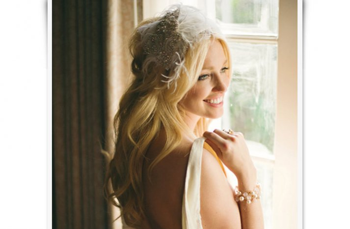 glamourous wedding hair accessories feather bridal cap