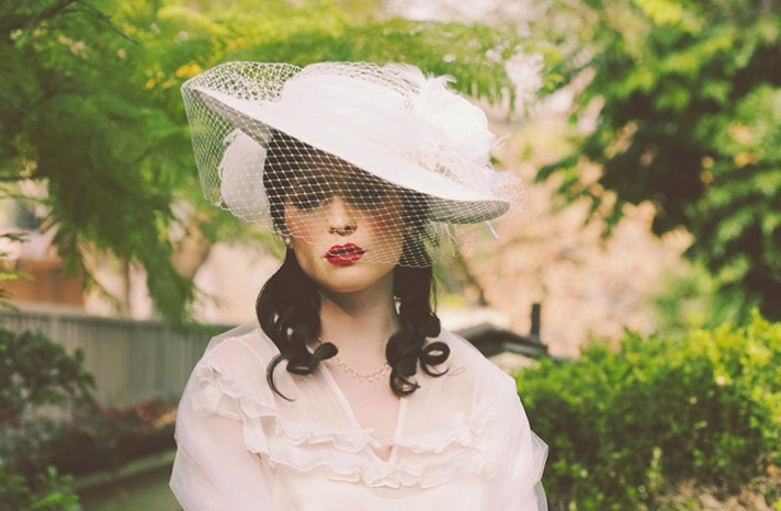 vintage inspired wedding hat haute couture bridal style