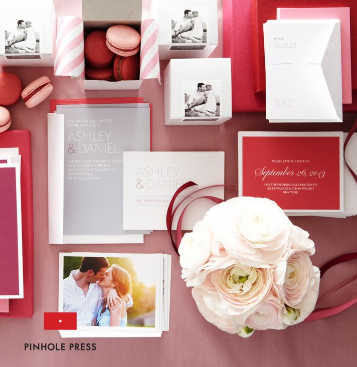personalized wedding ideas custom photo save the dates wedding invitations red gray pink