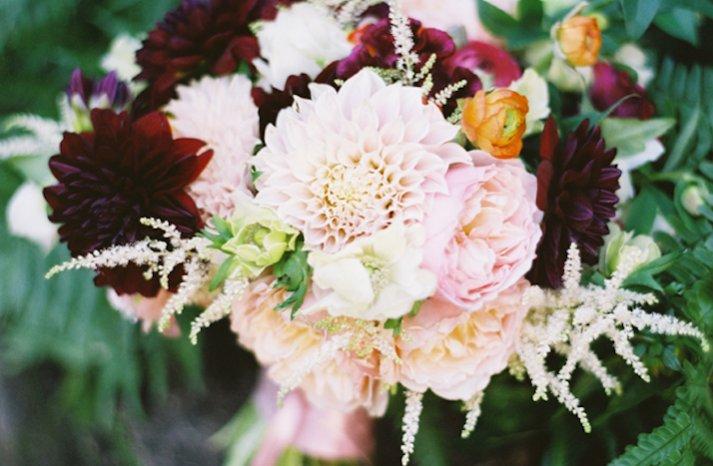 assorted bridal bouquet light pink deep red romantic wedding flowers