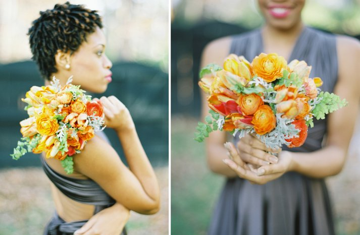 orange green bridal bouquet citrus inspired wedding flowers