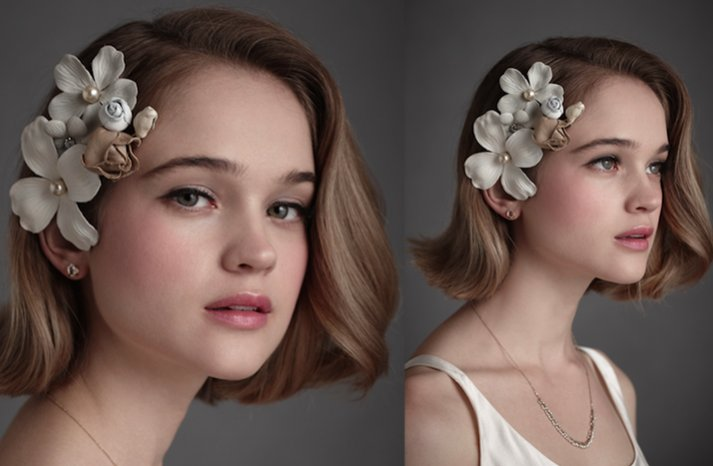 Romantic-wedding-hairstyle-for-short-hair-brides-bhldn-floral-wedding-hair-accessory