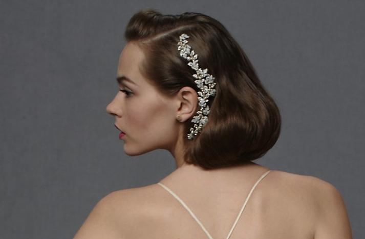 short wedding hairstyle vintage inspired brides BHLDN 2