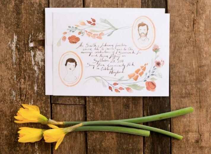 Illustrated Floral Portrait Hand Drawn Wedding Invitations