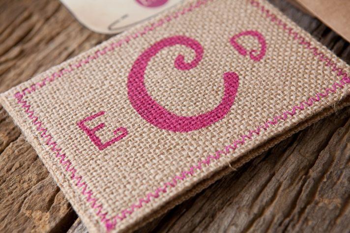 Burlap Pink Monogram Wedding Invitation Detail hot pink wedding colors 3