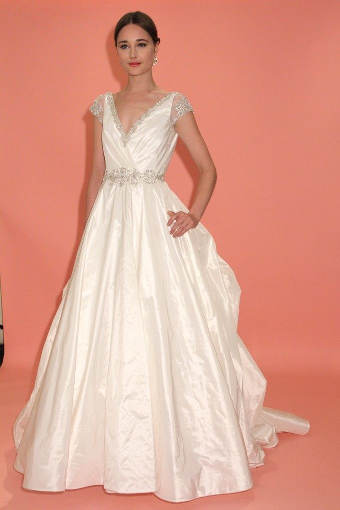 badgley mischka wedding dress spring 2013 bridal gowns cap sleeves 1