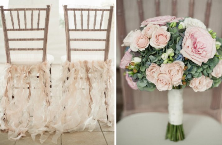 light pink khaki wedding colors bridal bouquet ceremony chairs