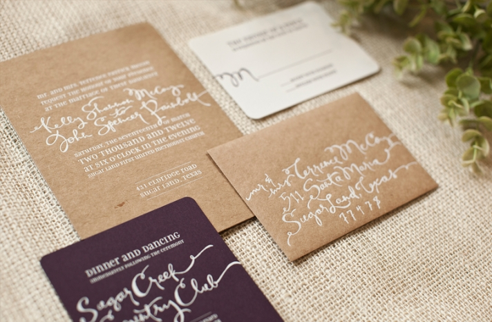 sage chocolate linen wedding save the dates customized with bride groom photo 2