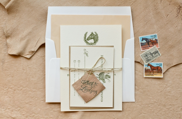 elegant country western wedding invitation leather twine details