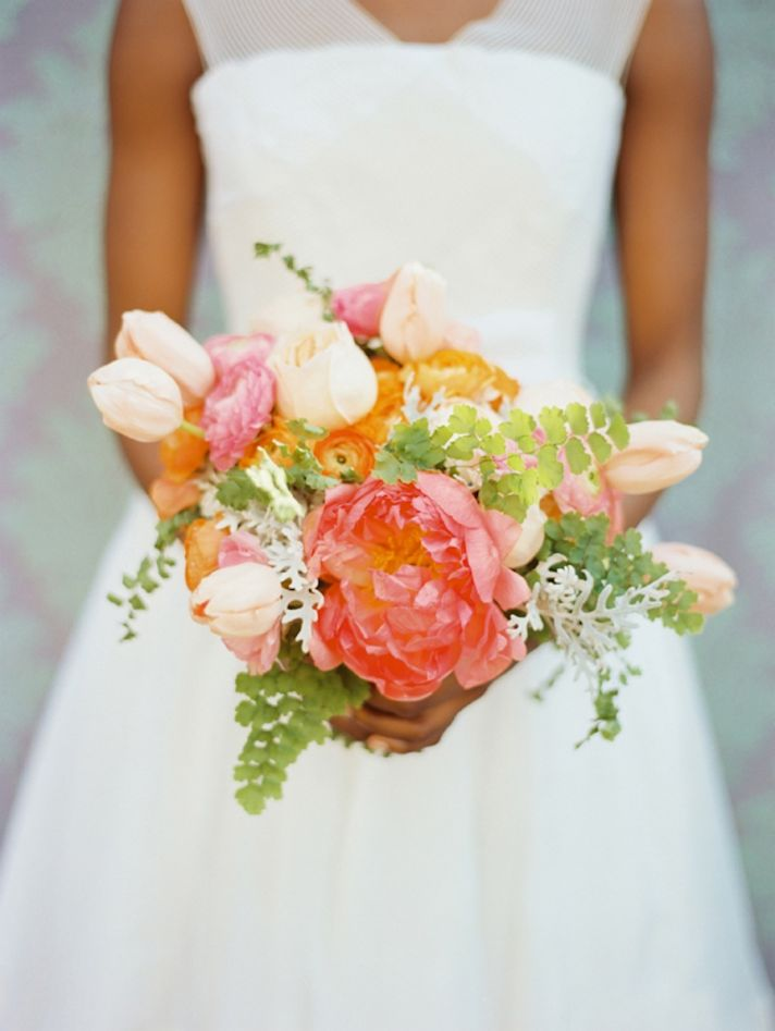 romantic wedding flowers anemones tulips peonies bridal bouquet bridesmaids flowers