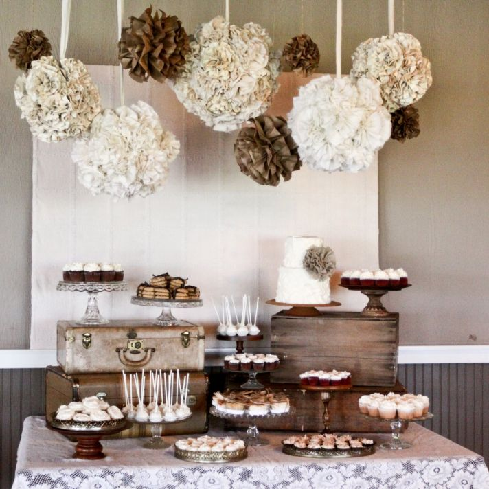 Wedding inspiration rustic romance burlap lace wedding reception decor rustic elegant neutral tones dessert table junglespirit