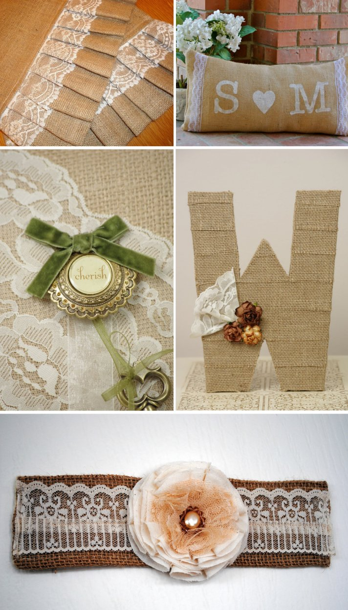 romantic lace burlap wedding inspiration bridal accessories vintage cuff