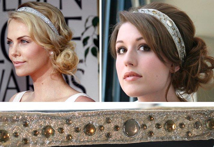 beaded bridal headband simple wedding DIY