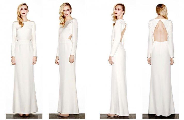 modern wedding dress 2013 bridal gowns open back sleeves
