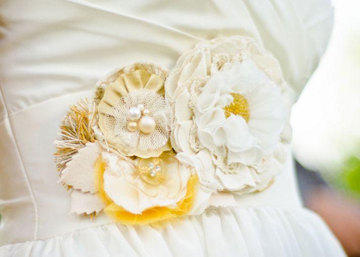 ivory gold yellow wedding dress sash