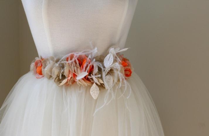 orange cream gold wedding dress sash with feathers