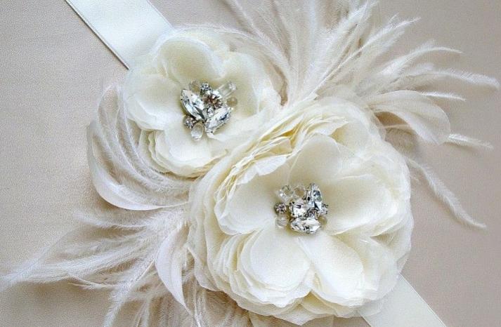 feather flower bridal sash