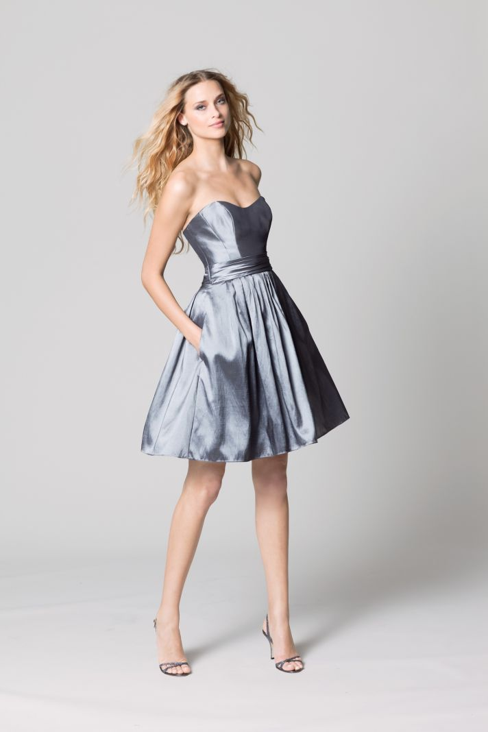 affordable bridesmaids dresses Fall 2012 WTOO by Watters bridal party silver shimmer with pockets