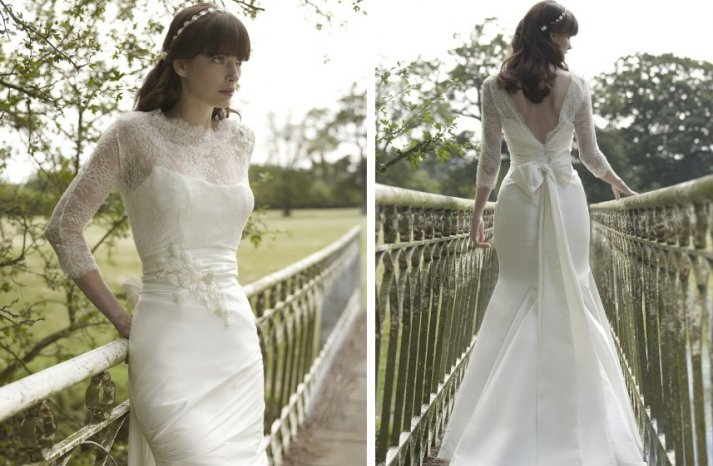 vintage inspired wedding dress stephanie allin lace illusion neckline and sleeves