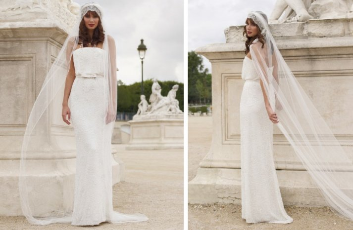 vintage inspired wedding dress stephanie allin romantic lace column tulle veil
