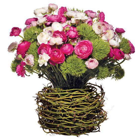 unique wedding centerpieces pink green ivory Ranunculus bullbrier vine Green Trick dianthus