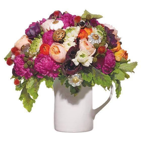 unique wedding centerpiece Juliet garden roses anemones ranunculus peonies gomphrena blackberries ge