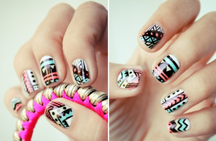 funky wedding nail art for modern stylish brides pastel with black pattern