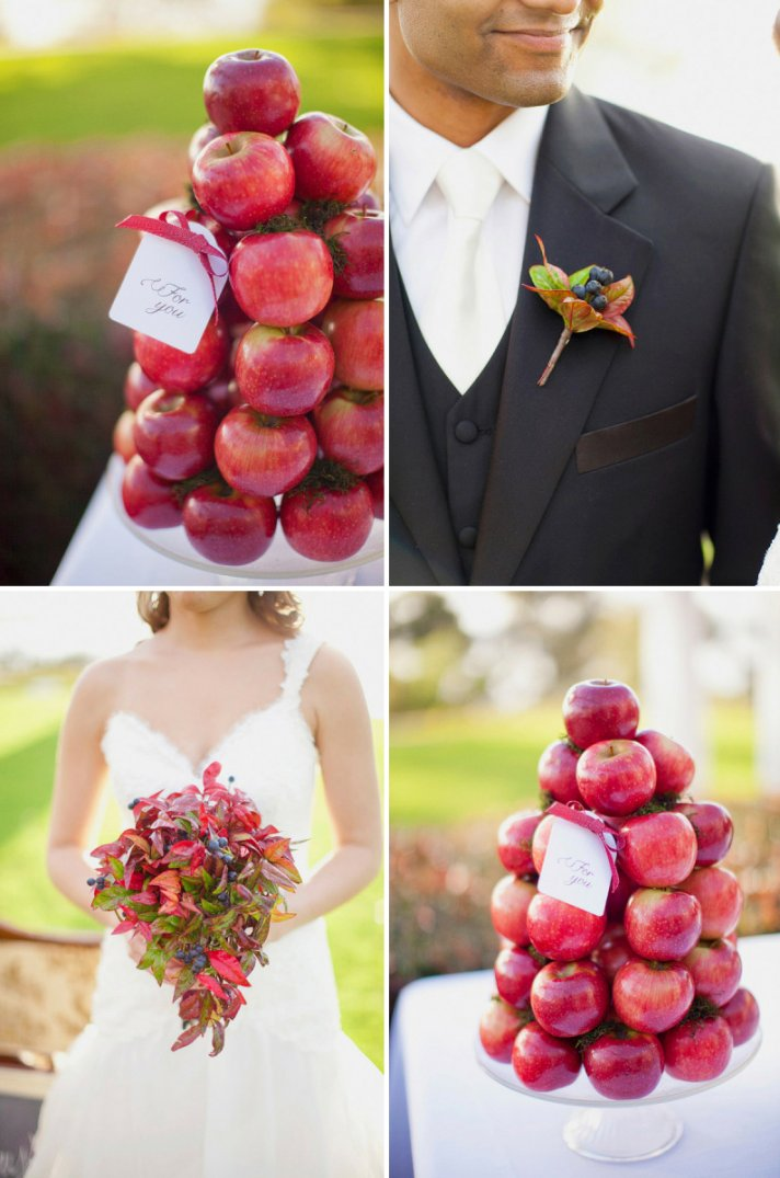 edible wedding flower accents berries in bouquet apple centerpieces