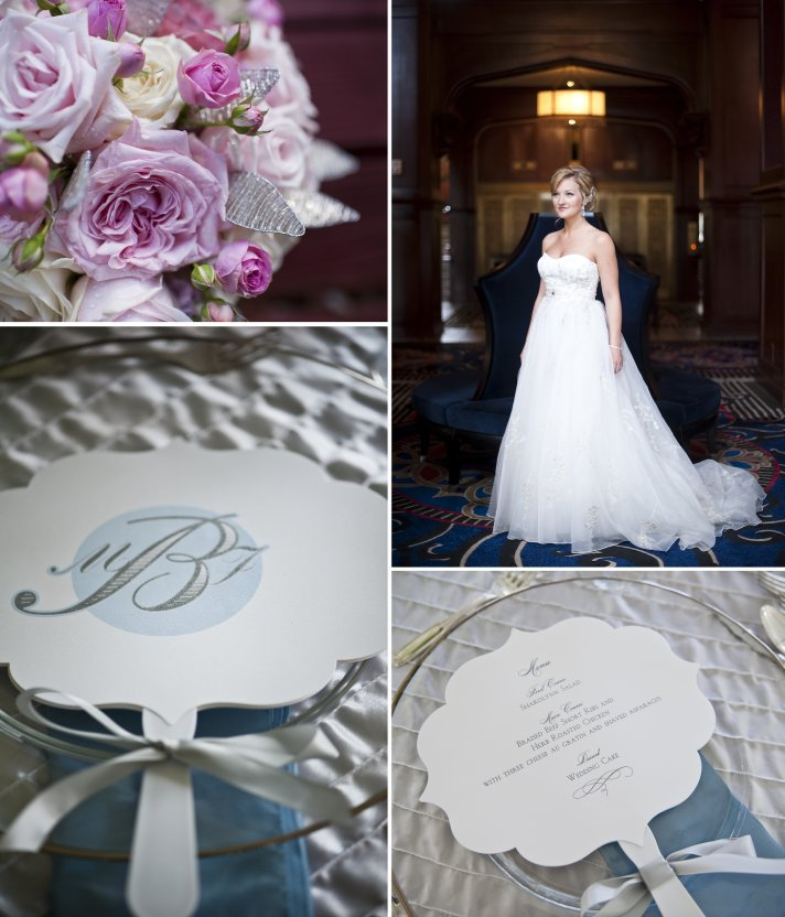 classic fall wedding elegant bride a line tulle wedding dress monogram ceremony programs