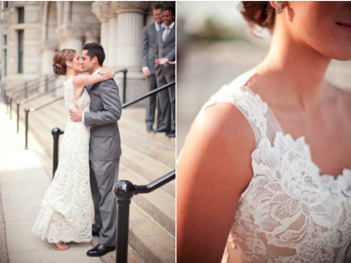 one shoulder lace wedding dress bride and groom