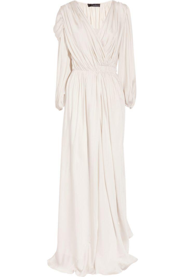 draped silk satin wedding dress with sleeves