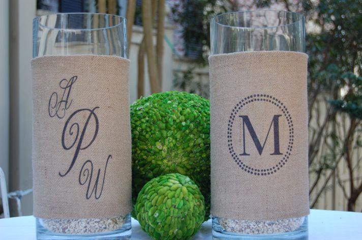 rustic wedding decor burlap wrapped hurricane vases