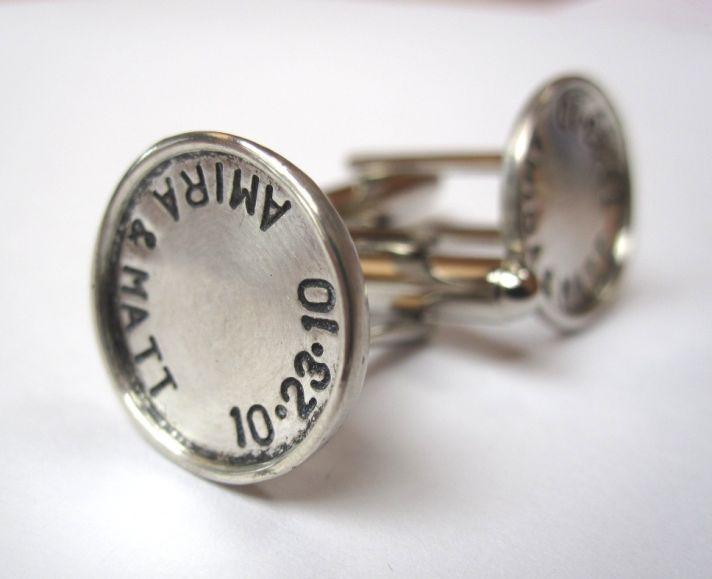 custom cufflinks with wedding date for groom