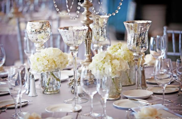 elegant ivory wedding flowers tulips lillies mercury glass 3