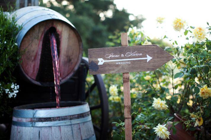 winery wedding in Malibu welcome sign rustic weddings