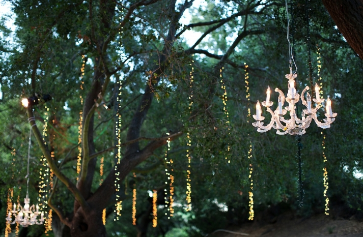 elegant outdoor wedding at winery in Malibu sparkling chandeliers
