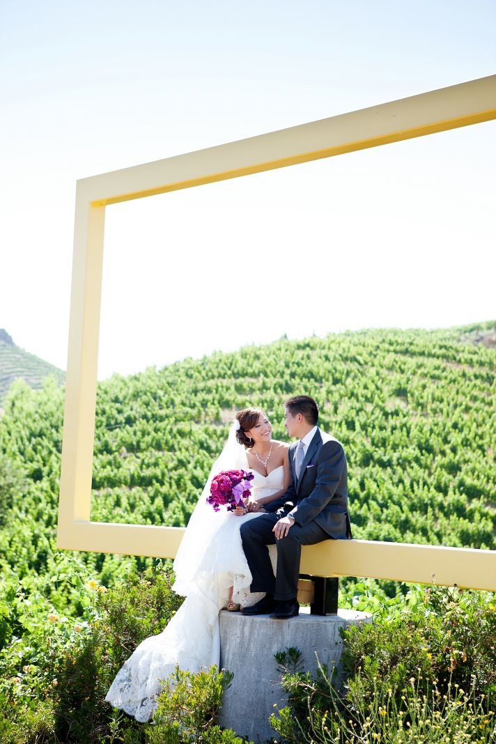 elegant California wedding with bold florals personalized details framed 3