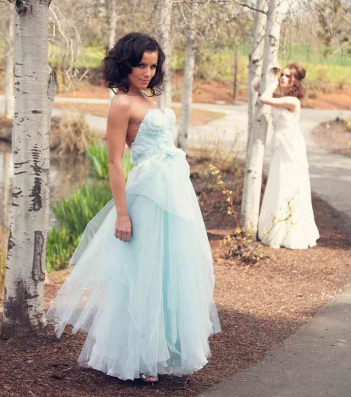 pastel aqua wedding dress tulle