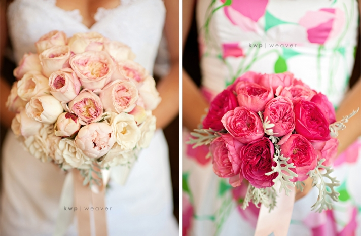 elegant southern wedding summer 2012 bridal bouquet bridesmaids flowers pink